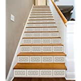 "3D White Ceramic Tile Pattern 06 Stair Risers Decoration Photo Mural Vinyl Decal Wallpaper Murals Wallpaper Mural UK Carly (15x H:18cm x W:102cm (7""x40""))"