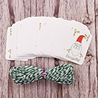 ASDFF Merry Christmas Diy Unique Gift Tags Tag Small Card Optional String Diy Craft Label Party Decor 50pcs/lot Santa