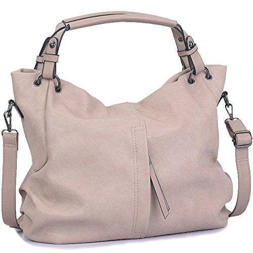 WISHESGEM Handtaschen Damen Taschen Hobo Umhängetaschen Schultertaschen Handtaschen PU-Leder Henkeltaschen Modernes 36cm(L)*16cm(W)*30cm(H) Khaki -