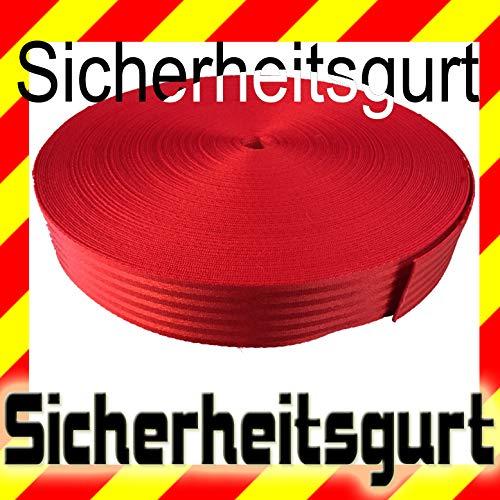 Sicherheitsgurt rot, Meterware TUNING, Polyester Gurt Band Gurtband Autogurt