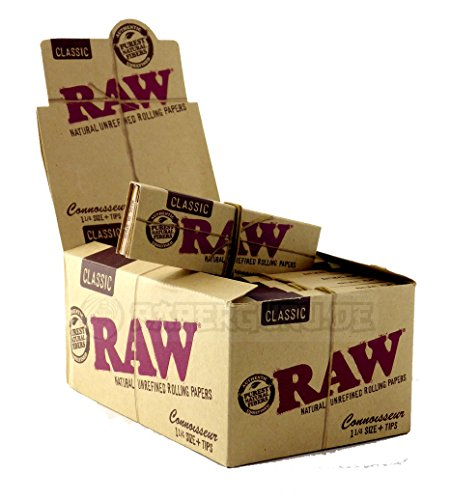 RAW Connoisseur 1 1/4 Medium Size Papers + Tips 1 Box (24x) Achtung: KEINE King Size Papers!