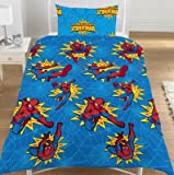 Childrens/Kids Boys Spiderman Quilt/Duvet Cover Bedding Set (Single Bed) (Blue/Yellow/Red)