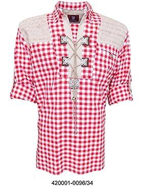 Trachtenhemd für Trachten Lederhosen mit Verzierung Brombeer/kariert
