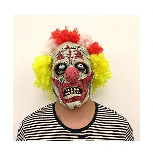 Scary Scream Kostüm - Miarui Halloween Latex Horror Gesichts Clown Maske Fasching Vollmaske Scream Horror Maske Scary Zombie Maske Halloween Kostüm für Halloween Fasching Karneval Party Kostüm Cosplay Dekoration