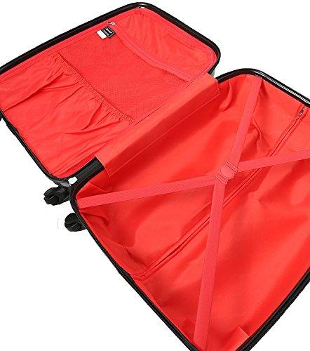5 Cities Hartschale Polycarbonat 4 Rollen Handgepäck Trolley Koffer Bordgepäck Kabinentrolley Reisekoffer Gepäck , Genehmigt für Ryanair , easyJet , Lufthansa und Vieles Mehr (Nacht) - 5