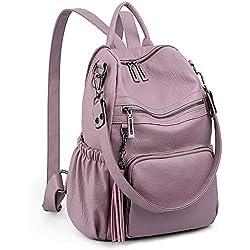 UTO - Bolso Mochila de Mujer Cuero Sintético Bolso Bandolera Bolso Escolar con Bolsillos Laterales con Borlas Violeta Rosado