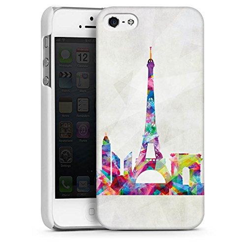 Apple iPhone 5s Housse Étui Protection Coque Paris Tour Eiffel France CasDur blanc