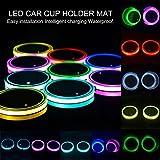 AOLVO Auto Becherhalter Lichter, wasserfest USB Lade-LED Cup Untersetzer Pad mit Lichtsensor und Vibration Sensor, automatisch auf bei dunklen, 8Farbe Leuchtziffern Tasse Matte für alle Cars–2Pack