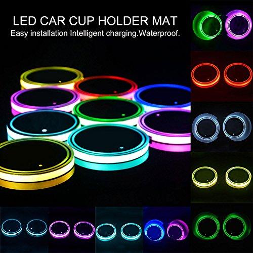 ter Lichter, wasserfest USB Lade-LED Cup Untersetzer Pad mit Lichtsensor und Vibration Sensor, automatisch auf bei dunklen, 8Farbe Leuchtziffern Tasse Matte für alle Cars-2Pack ()