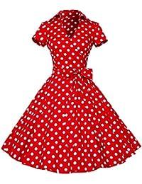 ZAFUL Robe Vintage années 50 's Style Audrey Hepburn Rockabilly Swing Robe de soirée cocktaile Robe de Bal à Manches Courtes