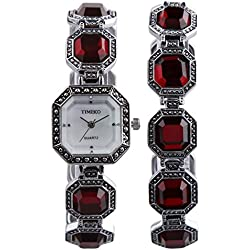 TIME100 Women's Fashion Retro Style Sqaure Dial Red Ladies Diamond Bracelet Watches #W50134L.01A