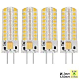 Sunix 4er GY6.35 LED Lampen, ersetzt 35W Halogenlampen, 6.5W Warmweiß 3000K, Dimmbar, 320lm AC DC 12V, LED Leuchtmittel
