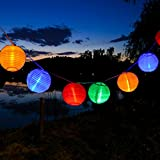 Uping® Led Lichterkette 20er Batterienbetriebene Lampions Laterne für Party, Garten, Weihnachten, Halloween, Hochzeit, Beleuchtung Deko usw. 4,2M multifarbig