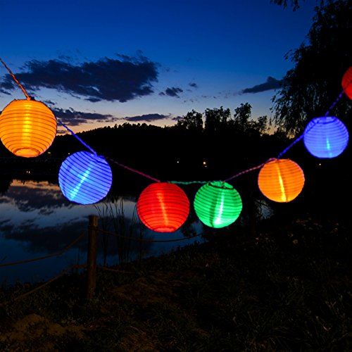 Uping, stringa di luci, catena luminosa, 20 led, 20 lanternine colorate, colorato, 3,6 metri, impermeabile, decorativa da interni e esterni, anche per festa, giardino, natale, halloween, matrimonio