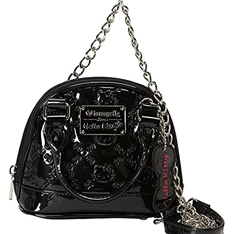 Hello Kitty – Borsa a mano nero lucido brevetto Micro a cupola con catena in metallo