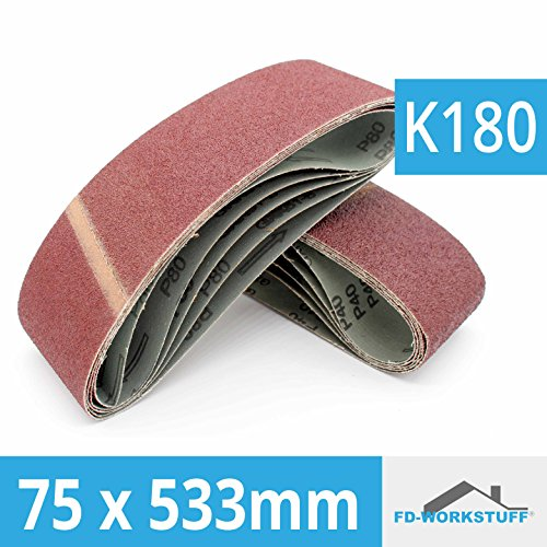 10x–Bandas de lija (75x 533mm papeles de lija para lijadora de banda (grano 180