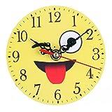 Schlafzimmer Wanduhr Upxiang Kreative Digitaluhr Emoji Runde Uhr Mode Cartoon Stille Glocke Schreibtisch Hause Dekorieren (C)