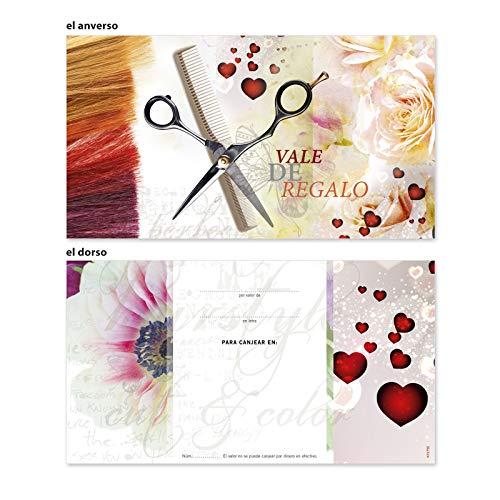 100 tarjetas de regalo vales de regalo de alta calidad con motivos para barbería peluquería peluquero peluquera estilista portada afinada con brillo intenso. K1275E