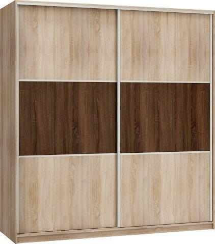 FurnitureByJDM Neuf, Moderne, Garde-Robe/Armoire 2 de Porte coulissante Rico Largeur: 200cm Hauteur: 216cm Profondeur: 65cm - Chêne Sonoma Lumière/Chêne Sonoma Foncé