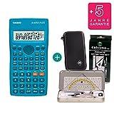 Casio FX-82SX Plus + Schutztasche + Geometrie-Set + Erweiterte Garantie