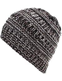 b594c5ba48b0 Sunenjoy Maman Tricoté Chapeau Chaud Double Laine Femme Bonnet en Crochet  Pompon Tressé Peluches Kit Bonnets
