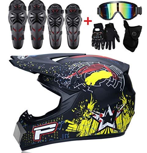 Motocross niños Casco Y Guantes Y Gafas Rodilleras