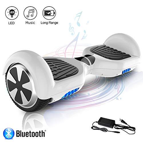 COLORWAY Hoverboard Self Balance Board Elektro Scooter Roller EU Sicherheitsstandard, mit Bluetooth Lautsprecher (JD Weiss)