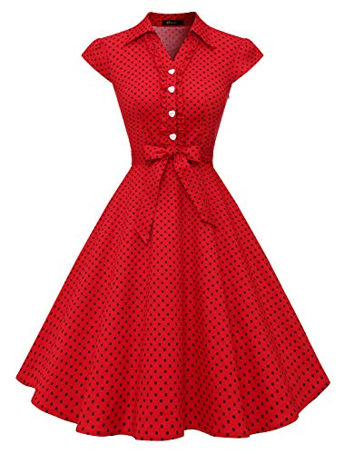 Wedtrend Robe Vintage Rockabilly 50's 60's Style Audrey Hepburn avec Boutons de cœur à Pois WTP10007 RedBlackDot L