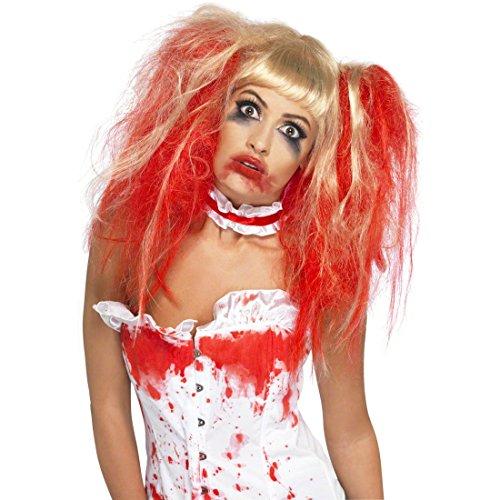 Zombie Horror Zopf Perücke Krankenschwester Punk rot-blond Zombieperücke Halloweenperücke Karnevalperücke Faschingsperücke Kostüm