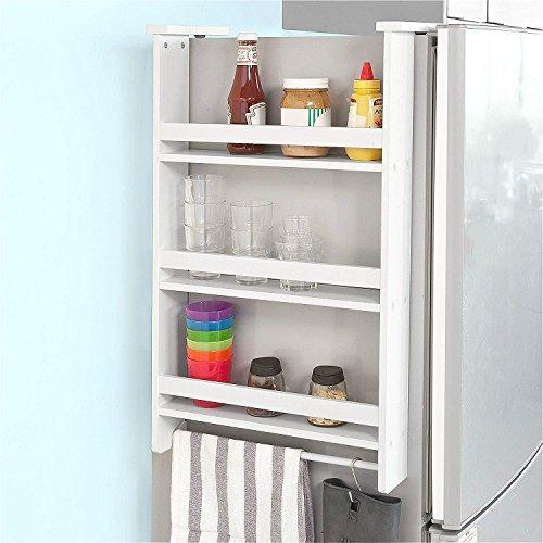 Barbieya Hängendes Regal für Kühlschrank, 3 Tiers Küchenregal Gewürzregal Küchenschrank, weiß(Free 4 S-Typ-Sperre Anti-Drop-Haken,Blau oder Grün)