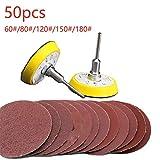 50pcs 2 pollici ditipo circolare 60-180 accessori per utensili in carta grana carta vetrata spazzolata lucidata1pc Hook Loop Plate feltro fit, marrone