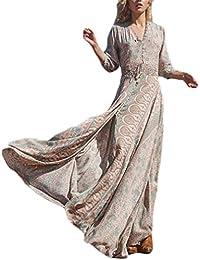 Vestiti Lunghi Donna Eleganti Vestito Estivi Manica 3 4 V Collo Boho Vestito  Chic Ragazza Mare Lunga Vita Elastica Fiori Spacco Moda… 517ab55b48e9