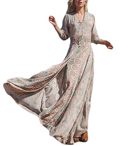 3c6b4cd8960b9 Vestiti Lunghi Donna Eleganti Vestito Estivi Manica 3 4 V Collo Boho  Vestito Chic Ragazza