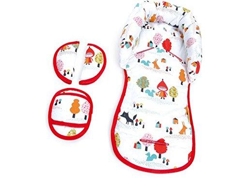 Preisvergleich Produktbild PRIEBES EMIL Sitzverkleinerer mit Gurtpolster | Universal-Set mit Kopfschutz & Sitzverkleinerer & Gurtpolster für jede Babyschale | atmungsaktiv & waschbar | Schonbezug 100 % Baumwolle, Design:rotkäpchen