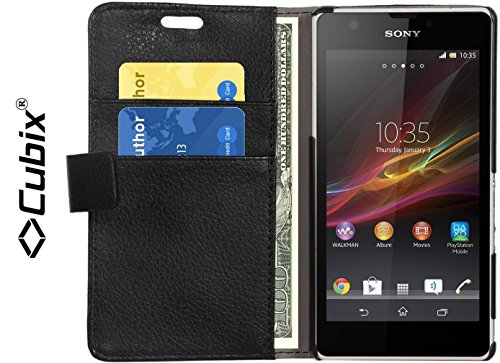 Cubix® Wallet Case Flip Cover for Sony Xperia ZR C5502 Card Slot Magnetic Closure Money Pocket Book Style Case Cover - Black  available at amazon for Rs.499