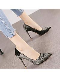 98a8fa8b729fca HRCxue Pumps Spitze Diamant Samt flachen Mund Stiletto Super High Heels  Mode Persönlichkeit Champagner Farbe einzelne Schuhe…