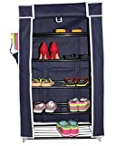 Styleys 5 Layer Multipurpose Portable Folding Shoe Rack / Shoe Shelf / Shoe Cabinet with wardrobe cover, Easy Installation Shoe Stand For Shoes – Navy Blue
