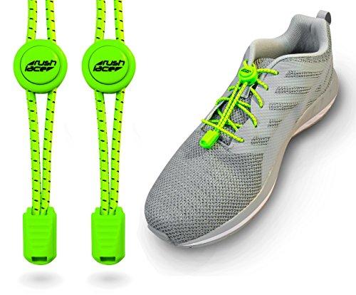 Rush Lace - Elastische Schnürsenkel mit Schnellverschluss aus Gummi - für Erwachsene, Kinder, Senioren geeignet, Sport, Triathlon, ohne Schuhe binden! (Neon-grün, 1 Paar)