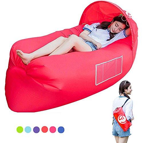 Air Sofa, Aufblasbarer Lounger wasserdichtes tragbares aufblasbares Sofa/ Bett/kampierender Strand-u (Rot)