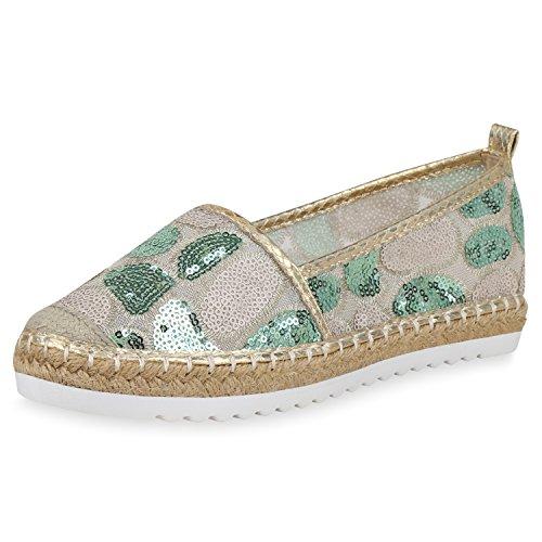 SCARPE VITA Damen Slippers Plateau Espadrilles Pailletten Slip On Schuhe Bast 166870 Gold Bast 37