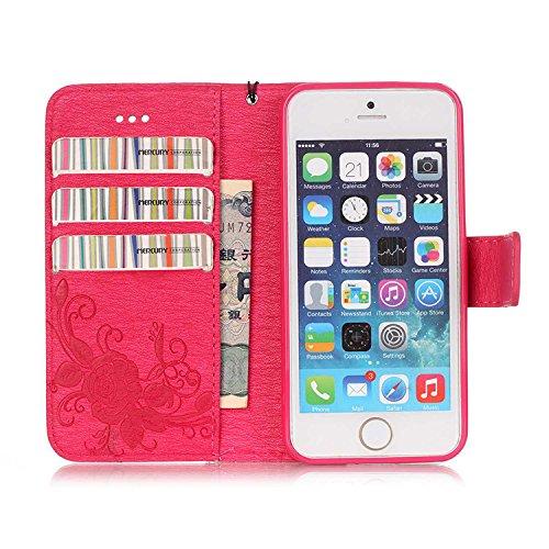 iPhone Case Cover IPhone 5 5S SE 6 6S Plus Boîtier, Embossing papillon PU Housse de protection en cuir Butterfly Flower Flip Stand Housse de sacoche pour IPhone 5 5S SE 6 6S Plus ( Color : Brown , Siz Rose