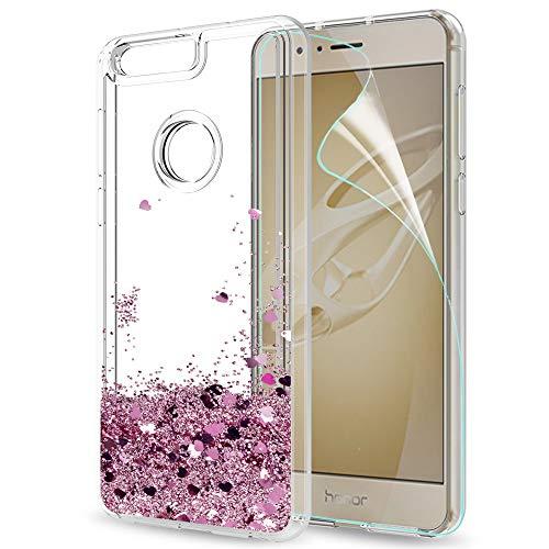 LeYi Hülle Huawei Honor 8 Glitzer Handyhülle mit HD Folie Schutzfolie,Cover TPU Bumper Silikon Flüssigkeit Treibsand Clear Schutzhülle für Case Huawei Honor 8 Handy Hüllen ZX Rot Rosegold