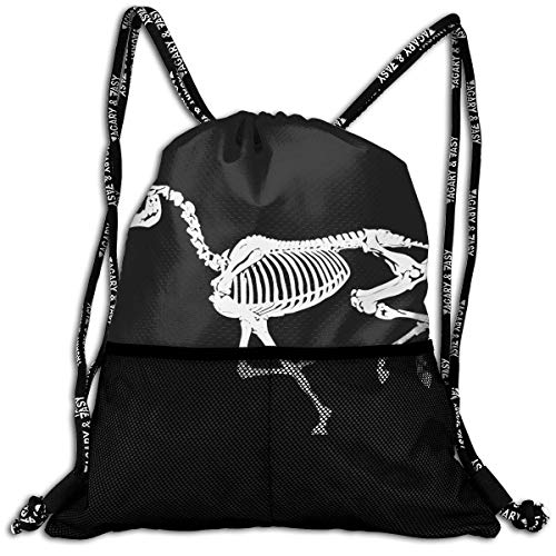(BAOQIN Running Skeleton Horse Casual Drawstrings Knapsack Bundle Backpack)