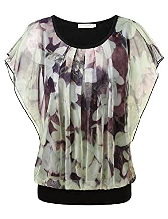 BaiShengGT Women's Floral Print Ruched Front Round Neck Flounced Sleeve Top Apricot Medium