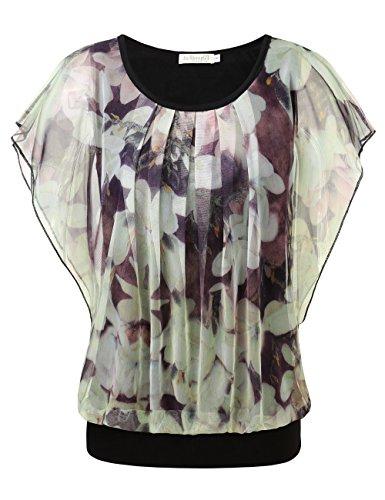 BAISHENGGT Damen Falten Kurzarm Tunika Batwing Rundkragen Bluse Apricot-Blumen X-Large