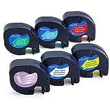 Recharge Dymo Letratag Ruban Plastique 12mm x 4m Compatible avec LT-100H LT-100T LT-110T QX 50 XR XM 2000 Plus, Noir sur Clair/Blanc / Rouge/Jaune / Bleu/Vert, 6-Pack