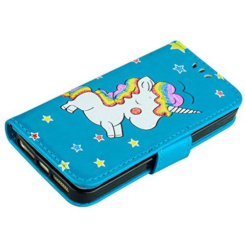 Cover iPhone 5 5S SE Pelle Unicorno, Unicorno Portachiavi Peluche, E-Unicorn Cover Custodia Apple iPhone 5 5S SE Pelle Unicorno Modello Brillantini Glitter Portafoglio Bianco PU + TPU Silicone Morbido Blu