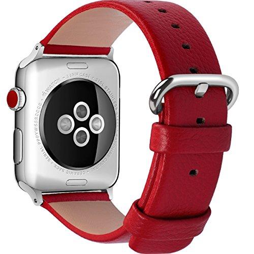 15 Colores para Correa Apple Watch, Fullmosa®Yan Cuero iWatch Correa/Pulsera/Banda/Band/Strap para Reemplazo/Recambio de Reloj Ediciones 2015 2016 2017 para Apple Watch Series 3, iWatch Series 3, Series 2, Series 1, Sangre Roja 38mm