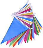 Mudder Multicolor Plastic Bunting Banner 30 Flags Double Sided Indoor/ Outdoor Party Decoration, 36 Feet