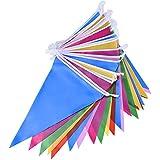 Mudder Multicolor Banderín Banderín de Plástico Bandera del Triángulo para Interior/Intemperie Decoración del Partido,30 Banderas de Doble Cara,36 Pies